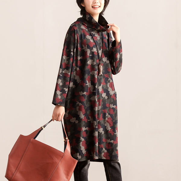 Turtle Neck Long Sleeve Women Autumn Winter Dress - Buykud