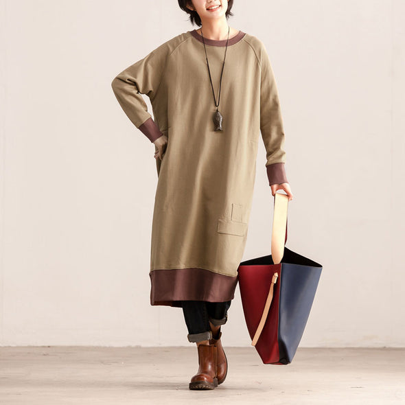 Casual Women Round Neck Long Sleeve Coffee Cotton Dress - Buykud