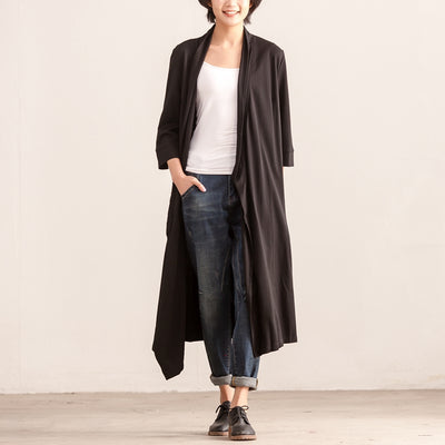 Women Three Quarter Sleeve Cardigan Irregular Black Dress - Buykud