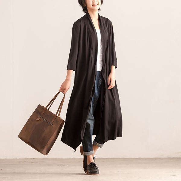 Women Three Quarter Sleeve Cardigan Irregular Black Dress
