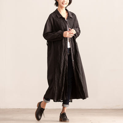Women Polo Collar Single Breasted Autumn Long Sleeve Dress - Buykud