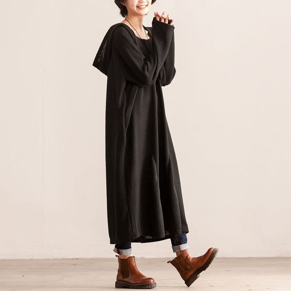 Hooded Women Autumn Winter Black Long Sleeve Knit Dress - Buykud