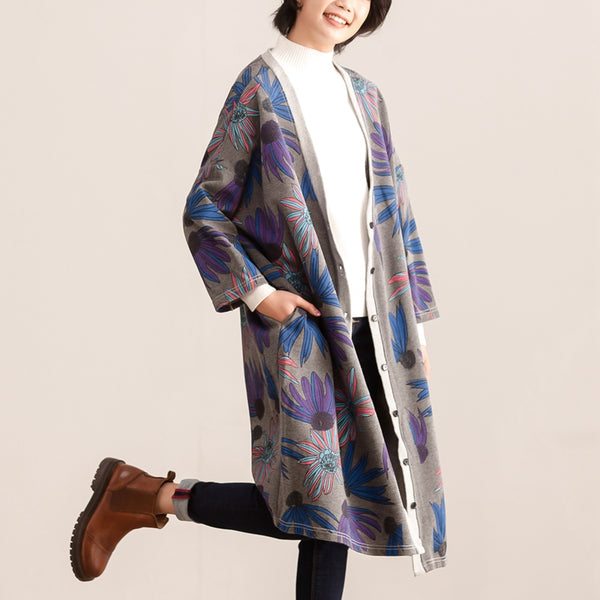Retro Women Printing Single Breasted Cotton Coat - Buykud