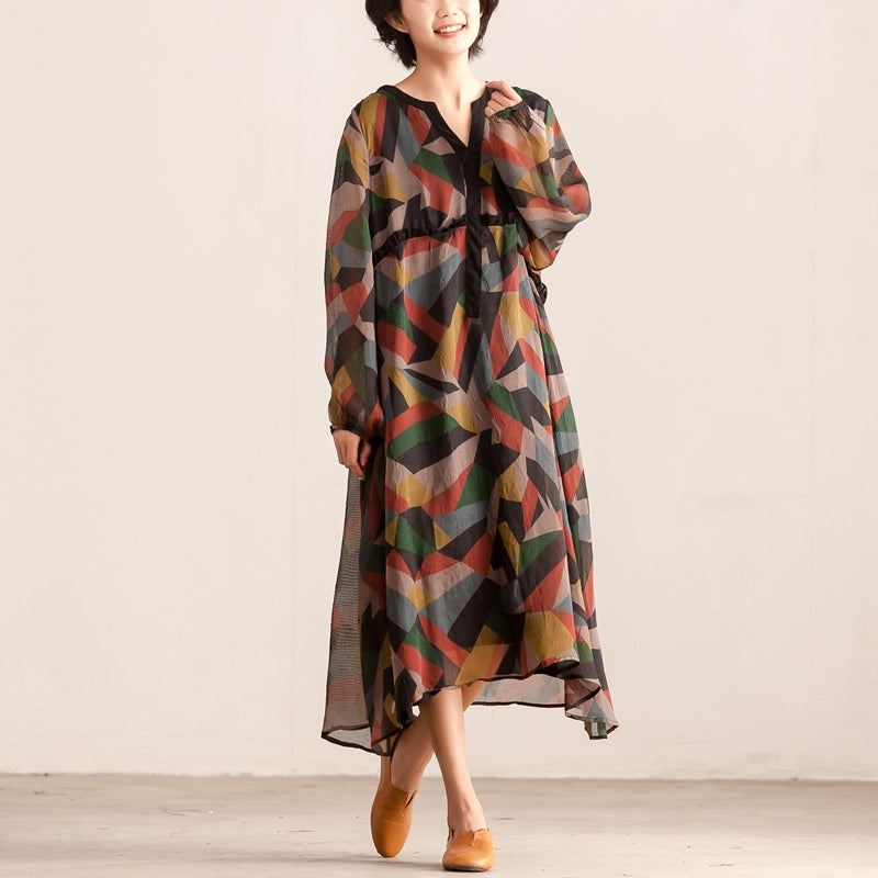 Colorful Loose Women Long Sleeve Pullover Lining Dress - Buykud