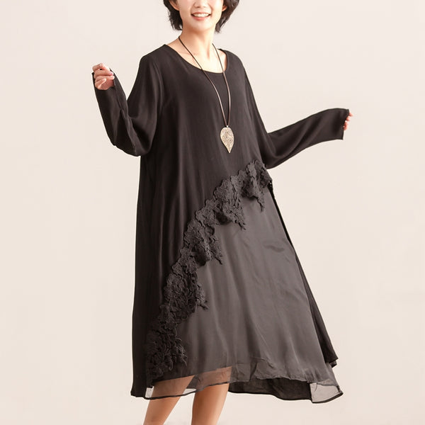 Autumn Women Splicing Round Neck Long Sleeve Dress - Buykud