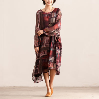 Retro Women Loose Baggy Round Neck Long Sleeve Dress - Buykud