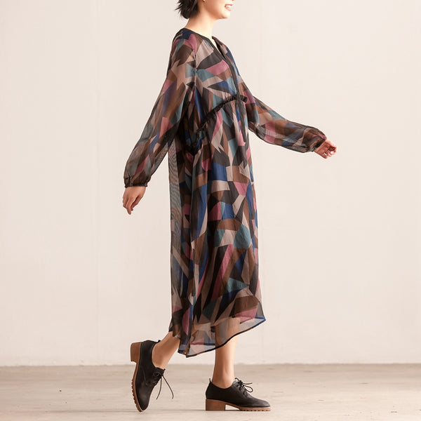 Colorful Women Loose Long Sleeve Pullover Lining Dress - Buykud