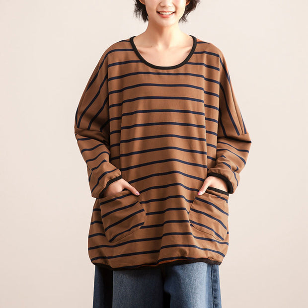 Women's Autumn Casual Round Neck Long Sleeve Stripe Shirt - Buykud