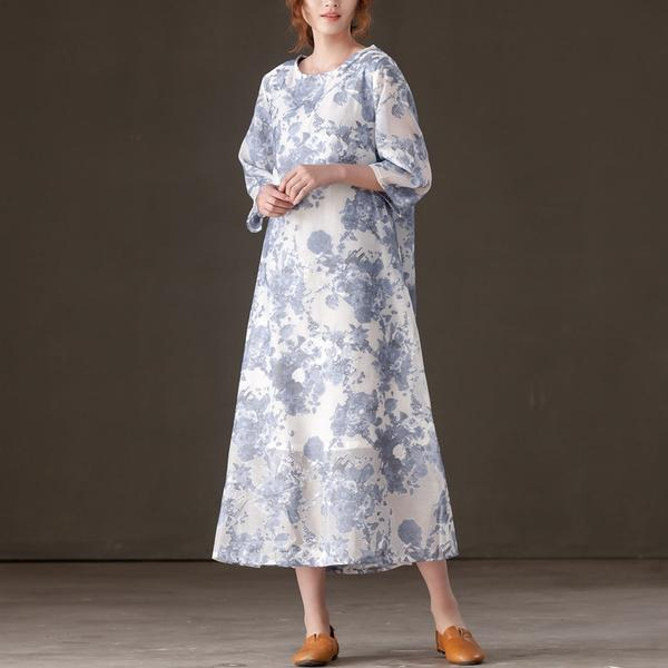 Women Casual Three Quarter Sleeve Floral Printed Dress