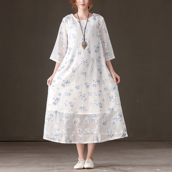 Women Casual Three Quarter Sleeve Light Blue Floral Printed Dress - Buykud