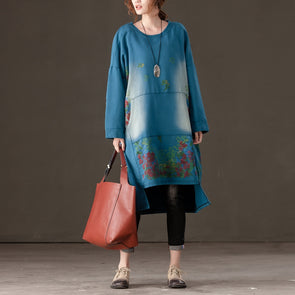 Spring Autumn Women Long Sleeve Blue Printed Dress - Buykud