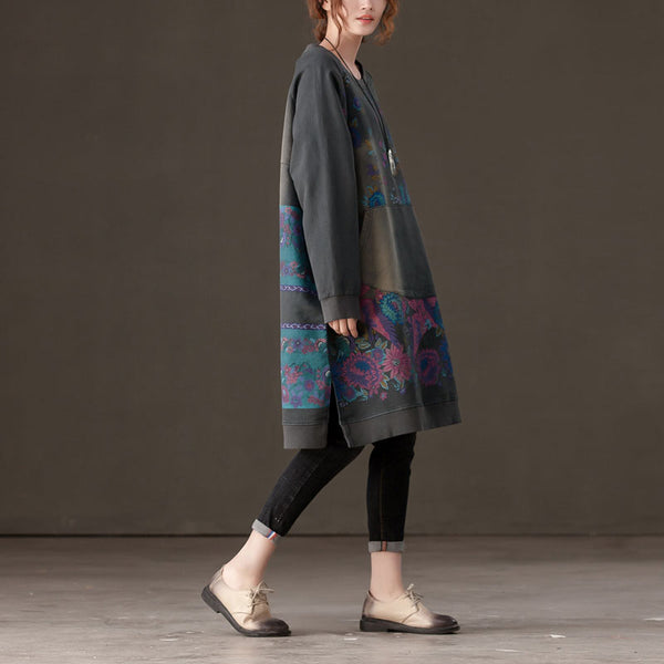 Loose Women Round Neck Shoulder Sleeve Printed Gray Dress - Buykud