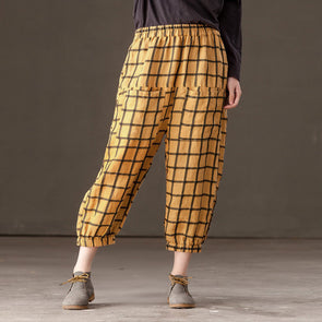 Loose Casual Women Yellow Lattice Calf Length Pants - Buykud
