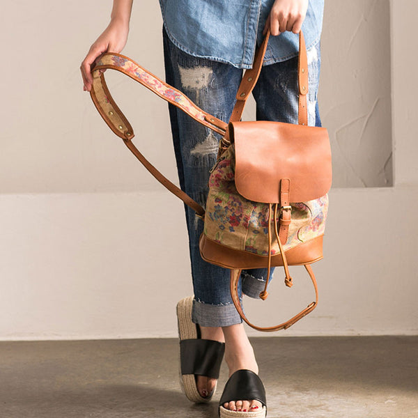 Women Retro Printing Casual Linen Backpack - Buykud