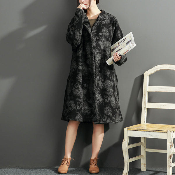 Round Neck Loose Black Printing Coat