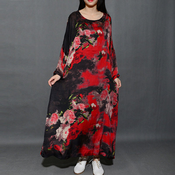 Spring Round Neck Silk Loose Printing Dress