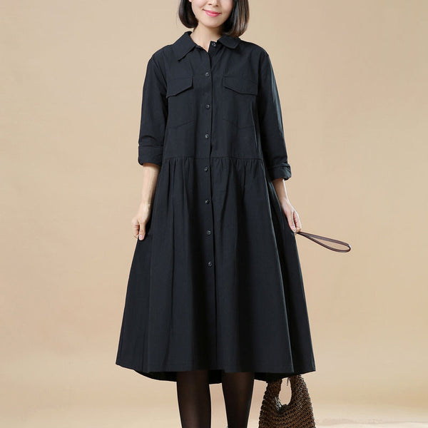 Spring Elegant Long Sleeves Black Dress