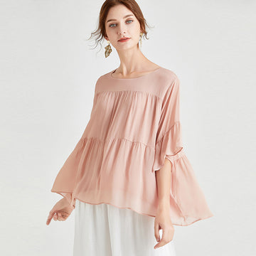 Plus Size Women Pleated Flare Summer Loose T-shirt