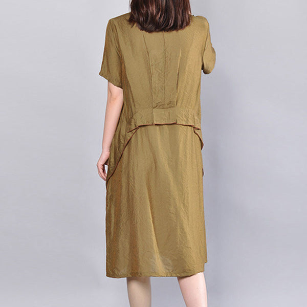 Round Neck Women Loose Casual Summer Simple Coffee Dress - Buykud