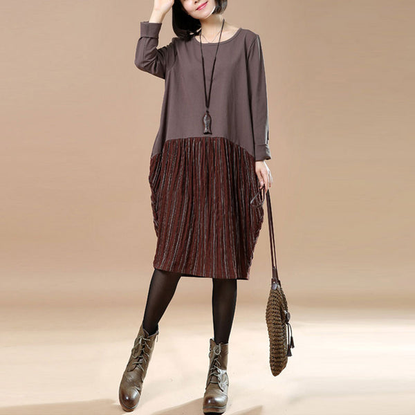 Spring Large Size Casual Loose Round Neck Coffee Dress
