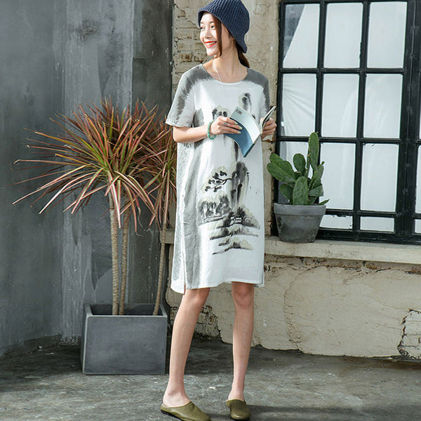 Retro Linen Irregular Women Loose Splitting Casual Printing Dress