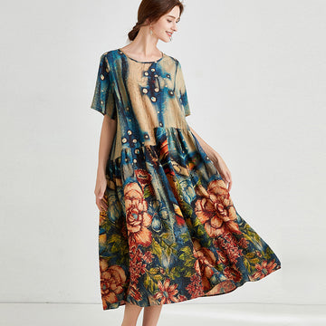 Plus Size Retro Flower Prints Summer Loose Dress