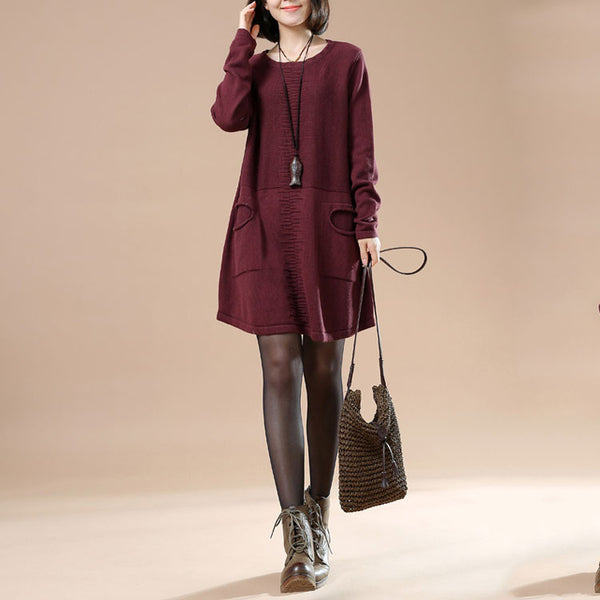 Autumn Round Neck Long Sleeved Knit Sweater Dark Red