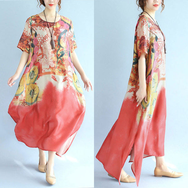 Women Retro Printing Loose Splitting Short Sleeve Dress - Buykud