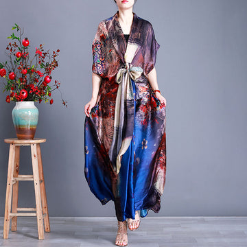 Irregular Prints Lacing V Neck Lacing Loose Short Sleeve Maxi Dress