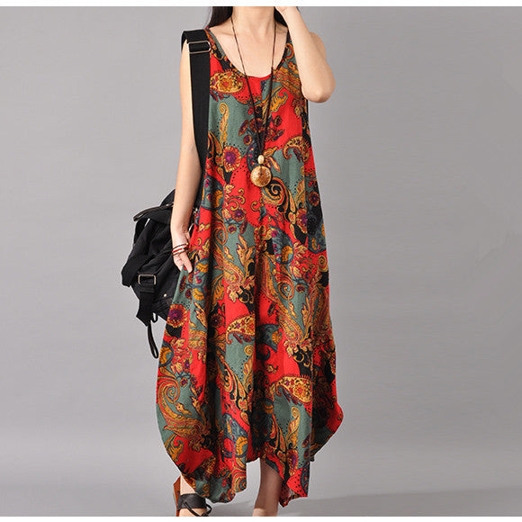 Women Cotton Linen Loose Fitting Summer Sundress