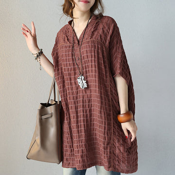 Women Literature Casual Loose 1/2 Sleeve Coffee Shirt - Buykud