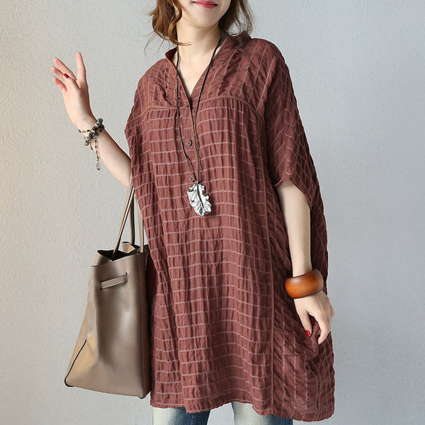 Women Literature Casual Loose 1/2 Sleeve Coffee Shirt