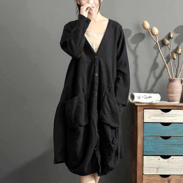 Linen Loose Pocket Dark Black Women Coat