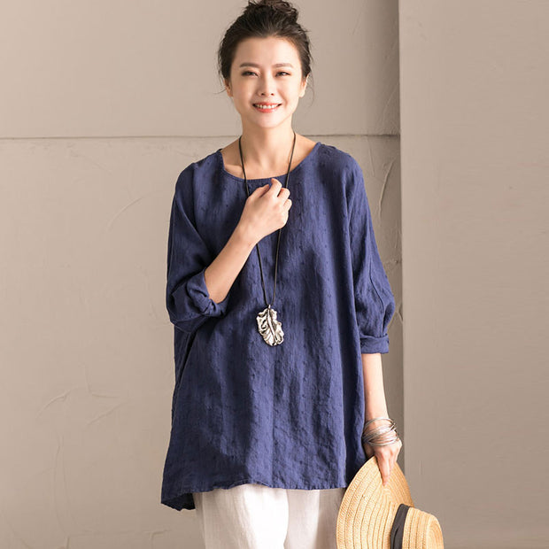 Linen Bat Sleeve Round Neck Loose Blue Shirt - Buykud