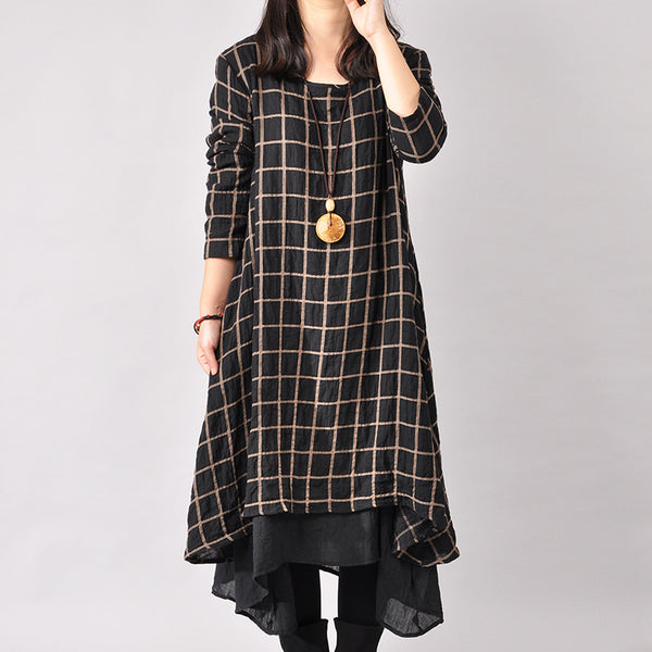 Women Cotton Linen Loose Fitting Long Sleeve Dress - Buykud - 1