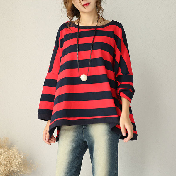 Loose Bat Sleeve Striped Cotton Shirt - Buykud
