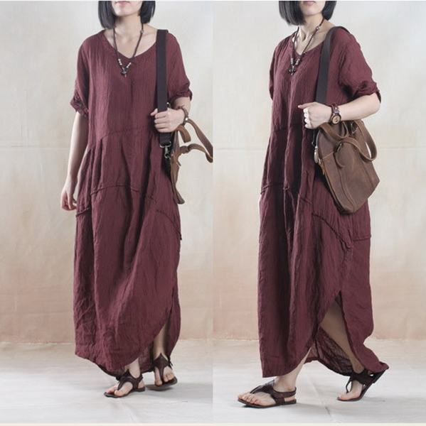 Women linen loose fitting short sleeve summer dress - Tkdress  - 1