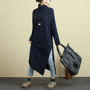 Women Long Sleeve Side Slit Irregular Hem Dark Blue Dress - Buykud