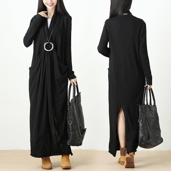 Autumn Knitted Black Long Dress For Women - Buykud