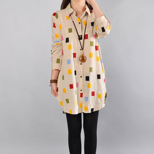 Spring Loose Cotton Women Beige Shirt