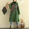 Women Hoodie Loose Coat Winter Green Thick Overcoat - Buykud