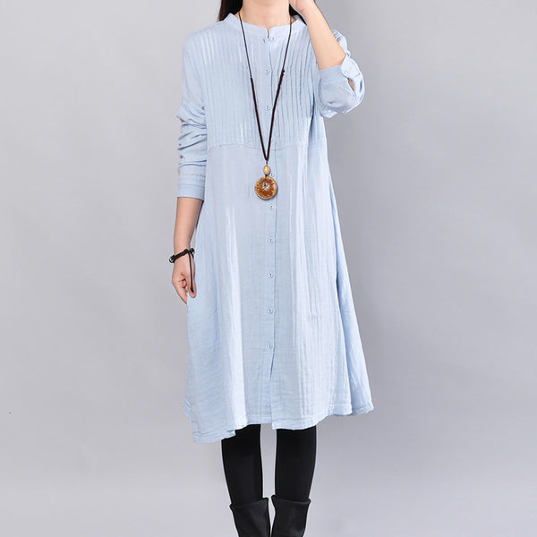 Autumn Casual Simple Women Blue Shirt Dress - Buykud