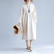 Cotton Women Long Sleeves Beige Dress - Buykud