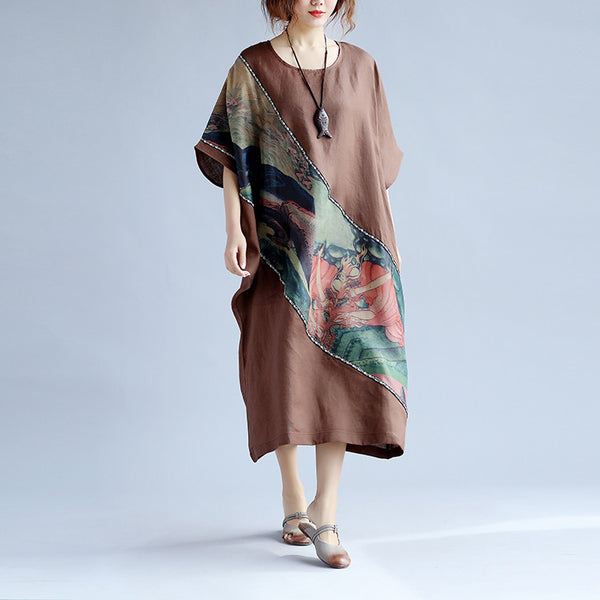 Splicing Women Printing Round Neck Brown Dress - Buykud