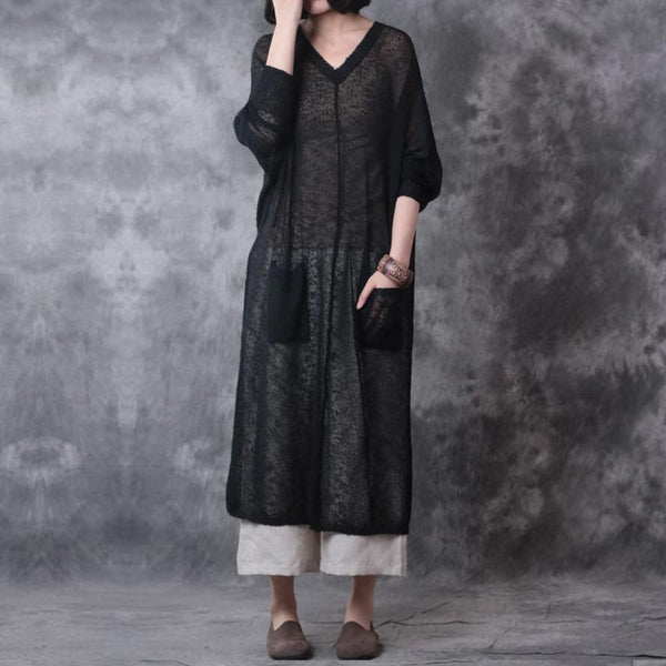 Linen Loose Women Shoulder Sleeves Black Dress