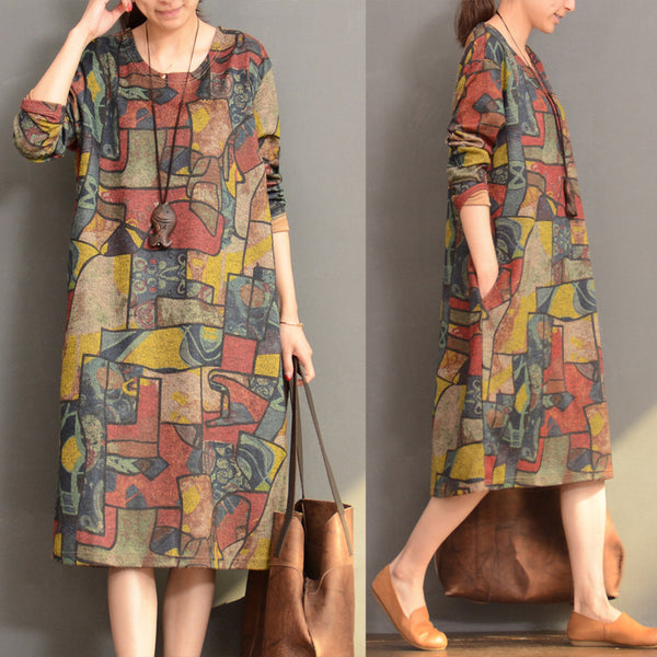 Women Casual Loose Print Long Sleeve Dress