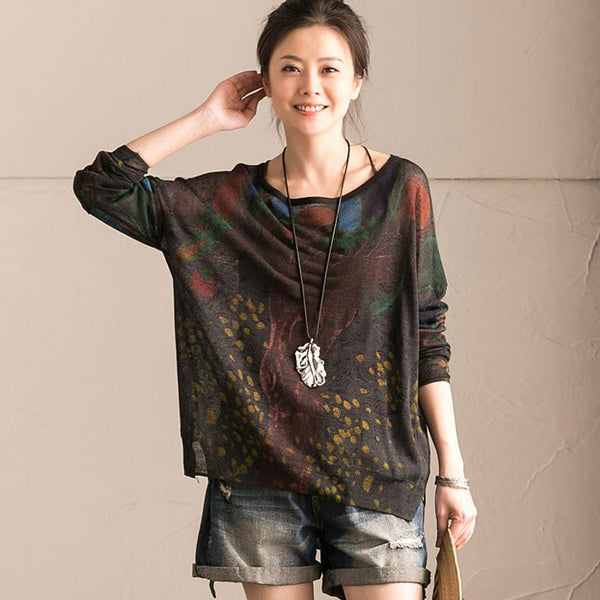 Printing Round Neck Women Shirt