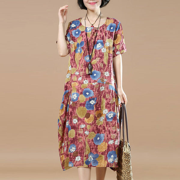 Summer Women Printing Loose Cotton Linen Casual Red Dress - Buykud