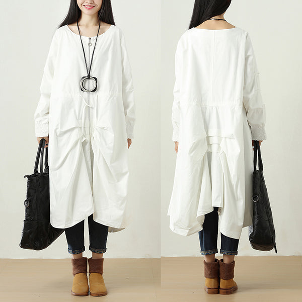 Women Zipper Casual Long Sleeve Pleated Lacing White Coat - Buykud