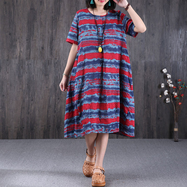 Short Sleeves Women Stripe Loose Blue Dress - Buykud